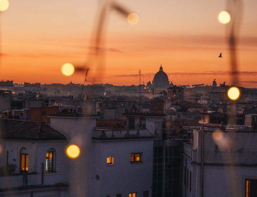 Sunset from La Rinascente terrace in via del Tritone, Rome, Italy