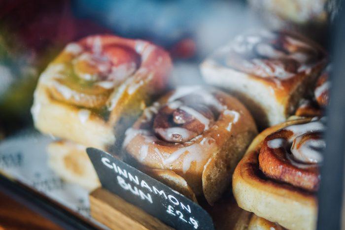 Sticky cinnamon buns at The Gentlemen Baristas coffee house in Borough, London