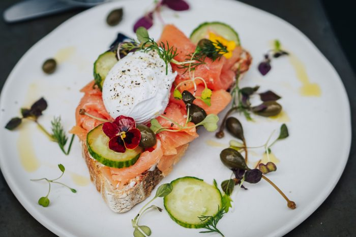 Smoked Salmon Toast with poached egg - Specialty coffee and brunch at The Gentlemen Baristas in Union Street, South London, UK