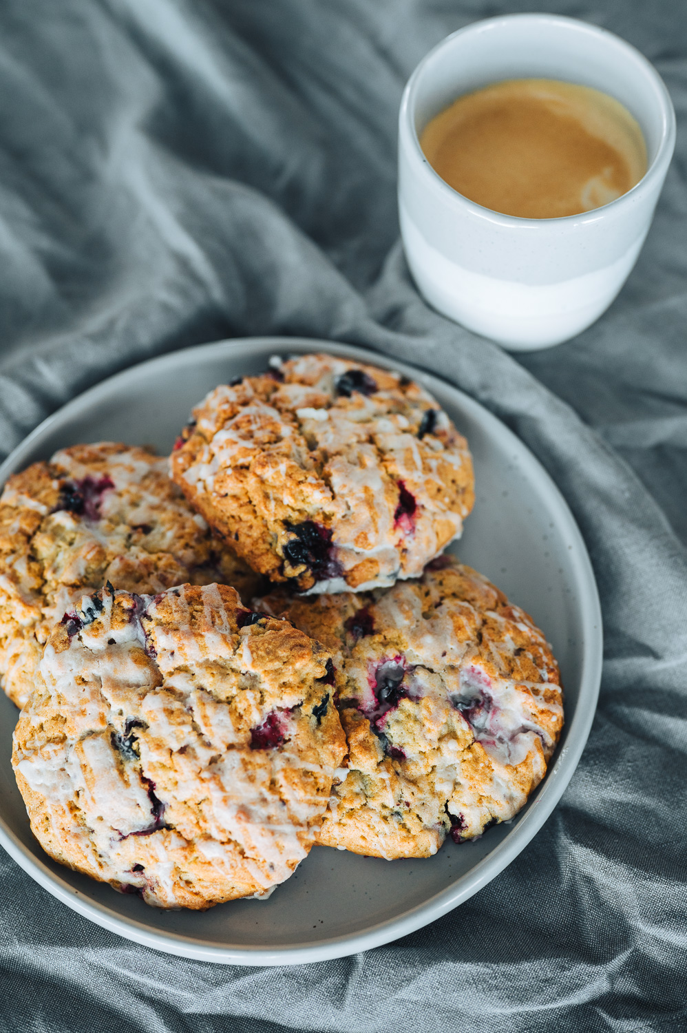 Quick and easy drop biscuits with whole blueberries. Recipe adapted from New York Times Cooking. #mondomulia