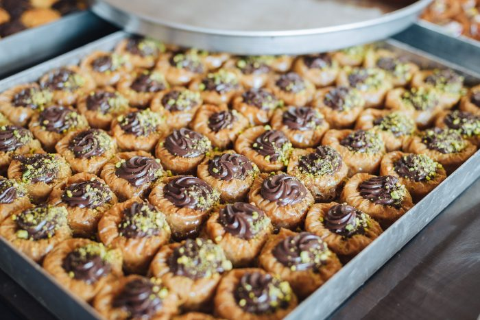 Baklava sweets in a pastry shop in Athens, Greece
