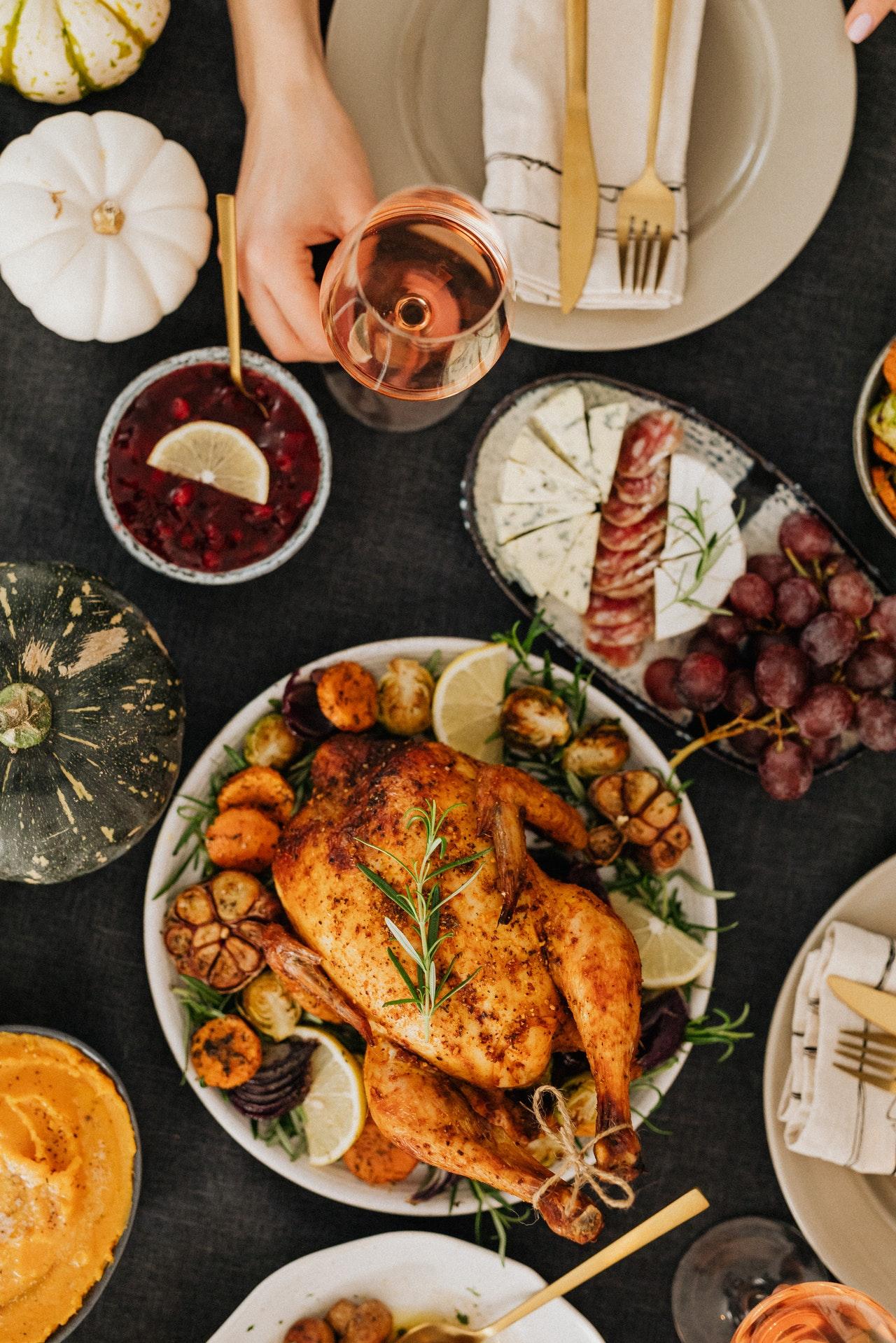 Traditional Thanksgiving family dinner